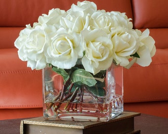 Large White Real Touch Rose Arrangement with Square Glass Vase Artificial Flowers Faux Arrangement for Home Decor Centerpiece