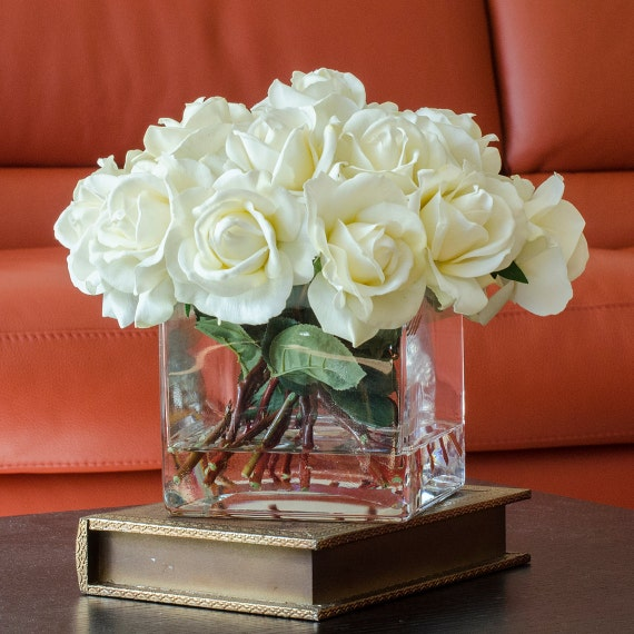 white real touch rose arrangement with square glass vase flower decor in window kitchen