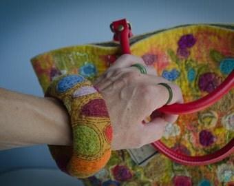Bright Felt Cuff Bracelet  of boho wool felt bracelets