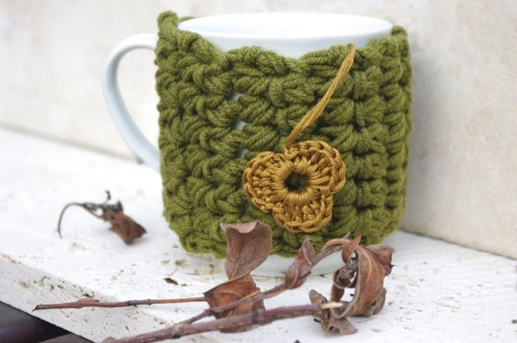Green and brown flower   Cup Cozy,  Coffee Cozy, Coffee Cup Sleeve, Tea Cup Cozy - Back to School