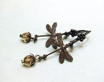 Delicate dragonfly earrings with Swarovski crystal drop earrings Rustic antique brass dragonfly dangle earrings Nature inspired jewelry