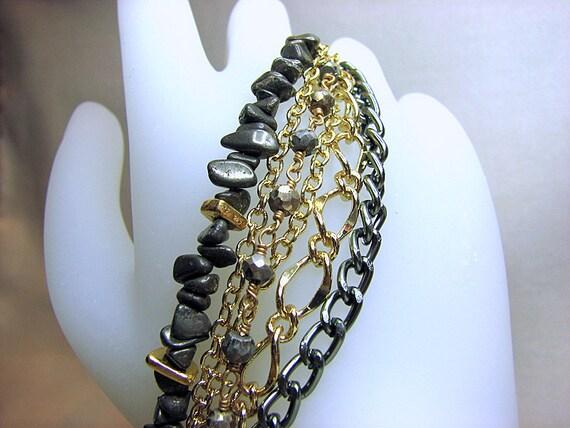 Mixed metal layered bracelet Multi strand bracelet Beaded chain bracelet Multistrand Semi precious gemstone beaded jewelry