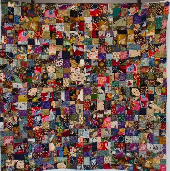 No. 12, Fractured Four-Patch (Copyrighted), Head East Asian Quilt, 576 Pieces