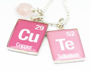 Periodic Table Necklace   Element Word Necklace   Pink CuTe Pendants Sterling Silver