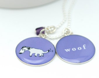 Dog Necklace | Woof Pendant | Personalized Color Choices | Sterling Animal Lover Necklace | Cute Teen Jewelry