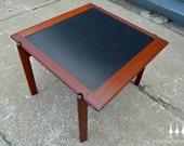 Danish Modern Mid Century Teak Flip Top Square Coffee Table