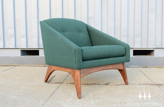 Mid Century Modern Evergreen Club Chair By Adrian Pearsall for Craft Associates
