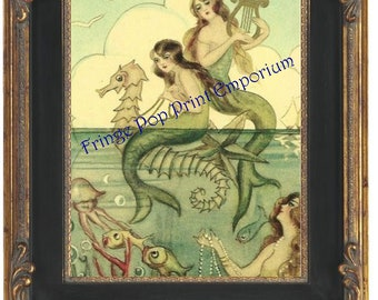 Mermaid Harp Art Print 8 x 10 - Seahorse Image - Retro Whimsical