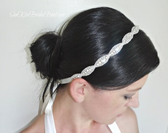JULIE Bridal Crystal Headband Rhinestones Beaded Headpiece