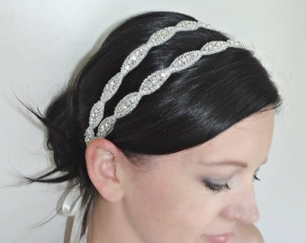 LUCY Double Crystal Bridal Headband,Rhinestones,Beaded Headpiece
