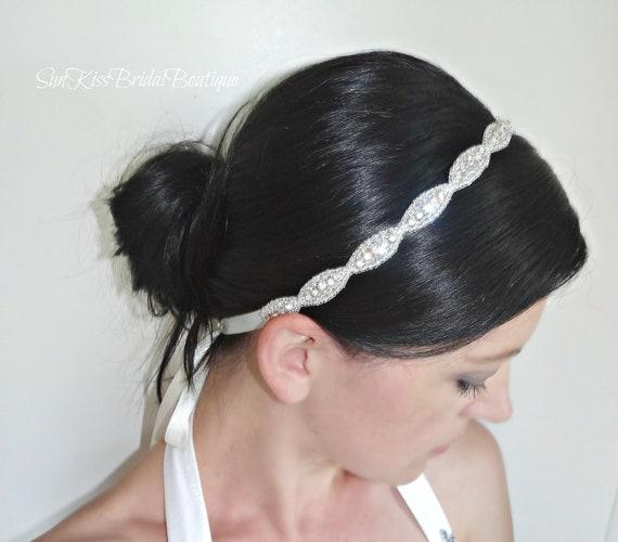 JULIE Bridal Crystal Headband Rhinestones Beaded Headpiece