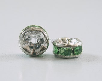 5mm Peridot Crystal Rondelle Spacer Beads #-