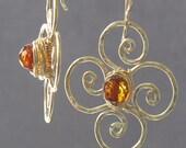 Hammered flower Amber earrings Victorian 193