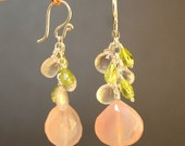 Peridot and rose chalcedony earrings Princess 10