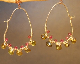 Drop hoop earrings wrapped with Pink Spinel and Idocrase Cleopatra 81