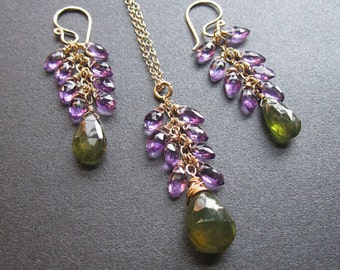 Amethyst & Idocrase matching earrings available Necklace 158