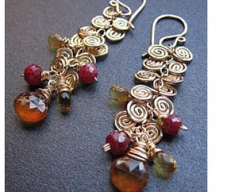 Hammered swirl earrings with pink ruby and mandarin garnet Venus 112