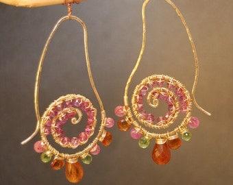 Hammered swirly drops ruby, mandarin garnet, peridot Luxe Bijoux 105