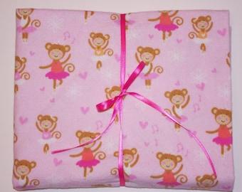 Extra Large Receiving/Swaddle Blanket -Pink Ballerina  Dancing Monkey  36x40