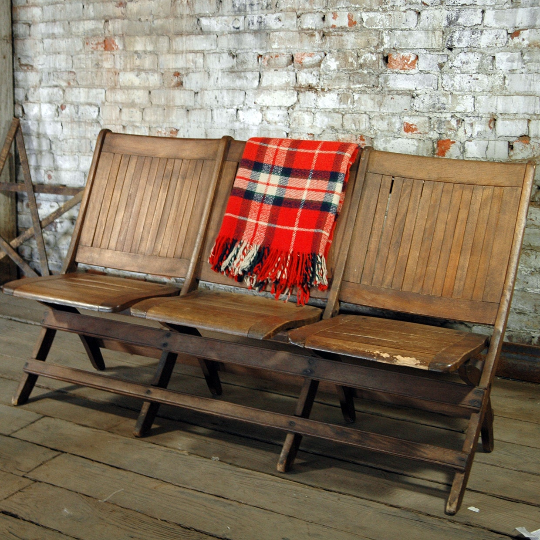 Heywood Wakefield Folding Bench Stadium Seat Trio
