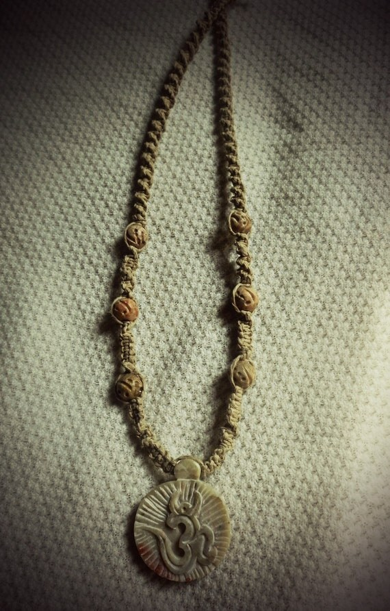 Stone OM Hemp Necklace with Stone Beads ( Free Shipping )