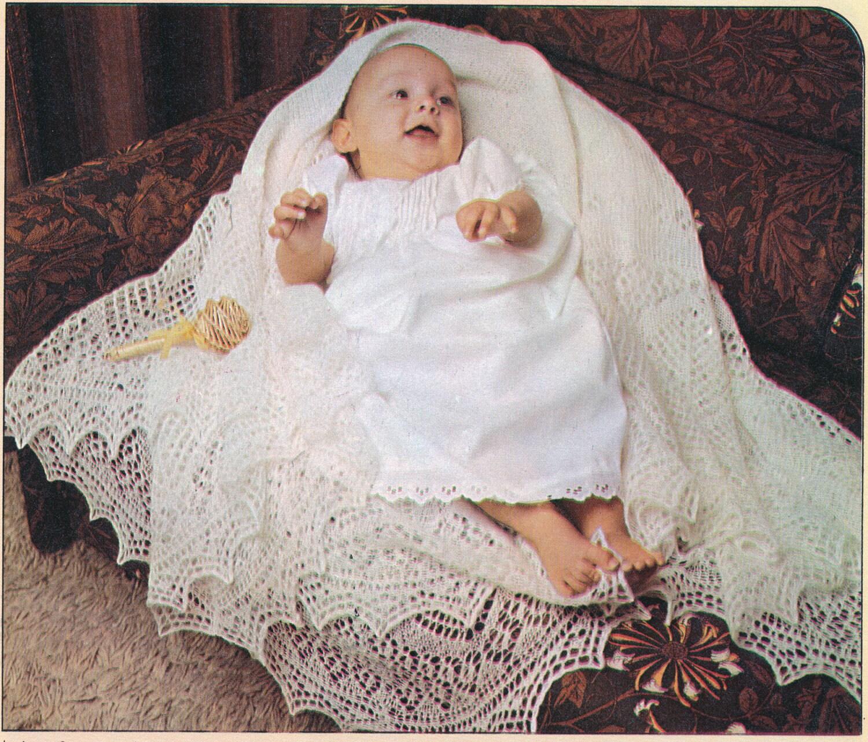 Gorgeous Vintage Retro 1960s SHETLAND LACE Baby Shawl Knitting Pattern - PDF ...