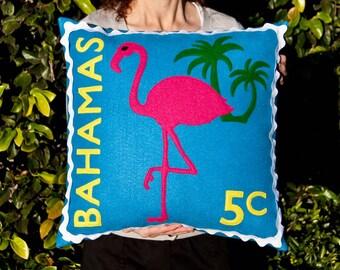 Bahamian flamingo stamp cushion cover