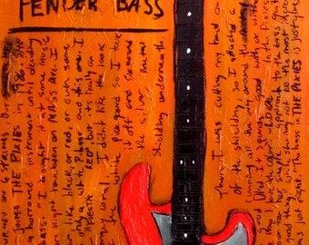 Bass Guitar Art. Kim Deal The Pixies Art. Fender bass guitar art print. 11x17.