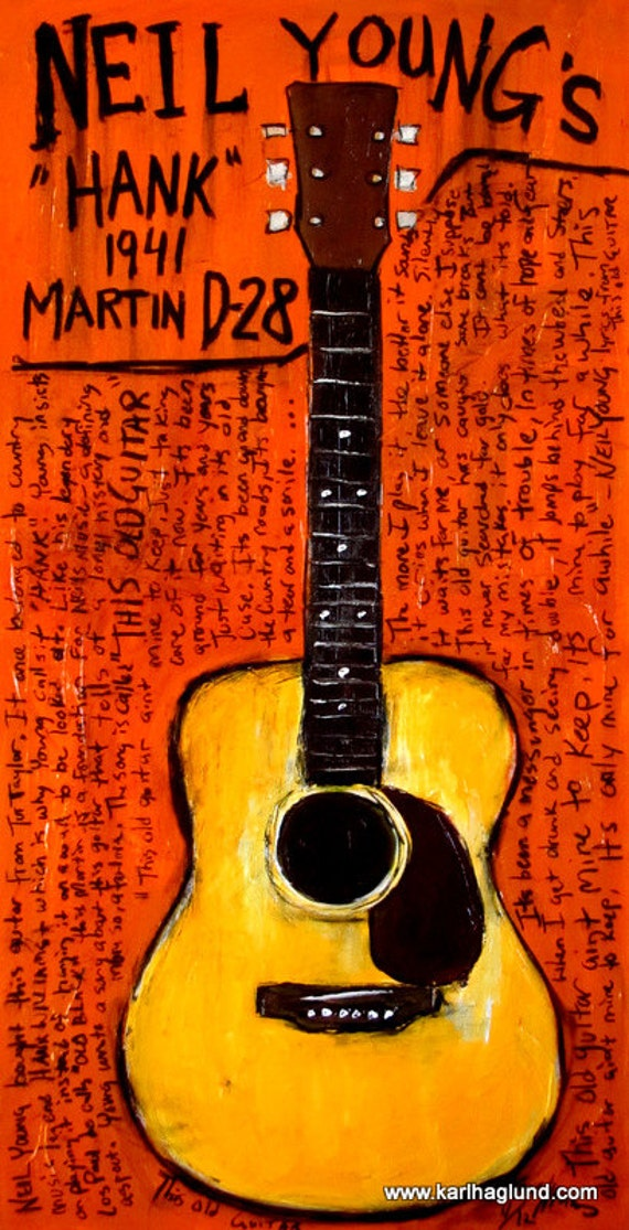 guitar art guitar painting neil young martin acoustic. Black Bedroom Furniture Sets. Home Design Ideas