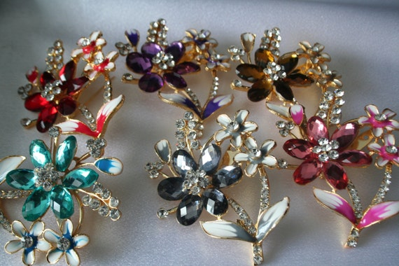 Items Similar To BRIDAL BOUQUET Diy Kit Brooches Wedding Flower Bouquet Clear On Etsy