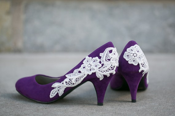 DAMAGED HEEL Purple Wedding Shoes Purple Heels with Ivory