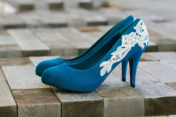 Wedding Shoes Teal Blue Heels Bridal Low Heel Pumps With Ivory Lace