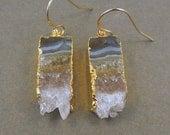 Amethyst Slice Druzy Earrings edged in 24k gold