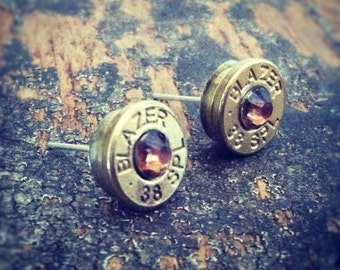Bullet earrings Smoked Topaz crystal 38 special brass bullet casing shell ear rings shooter hunter outdoors gift