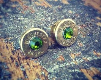 Bullet earrings Olivine Bright green 38 special bullet brass casing shell ear rings shooter hunter outdoors gift