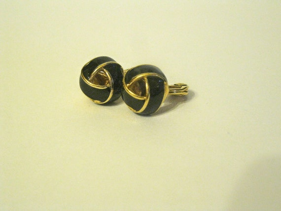 Gold and Black Enamel French Knot Clip On Earrings