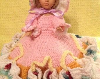 Large Rainbow Belle Princess Vintage Crochet Doll