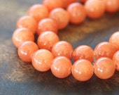 Mountain Jade Beads, Salmon, 8mm Round - 15 Inch Strand - eMJR-R34-8