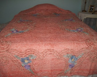vintage orange peach salmon  chenille purple  lavender green  and tan tea colored   bedspread by hermina's cotttage