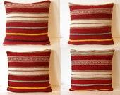 """Set of 4 Pillows,Handwoven Pillow Case, Handwoven Woolen Kilim Pillow 16"""" X 16"""",Sofa Couch Pillow"""