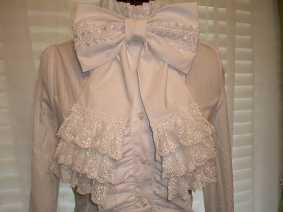 White Lolita Bow with Lace for Blouse