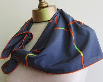 Vintage VERA scarf PEWTER with HOT colors
