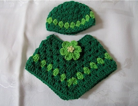 American Girl Crocheted Flowered Poncho and Hat Green