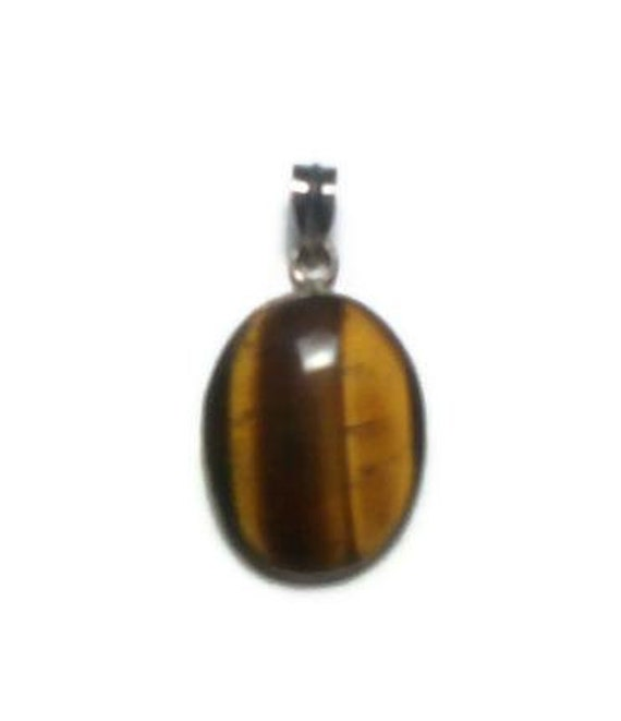 Tiger Eye Stone Pendant with Silver Snake Chain Necklace
