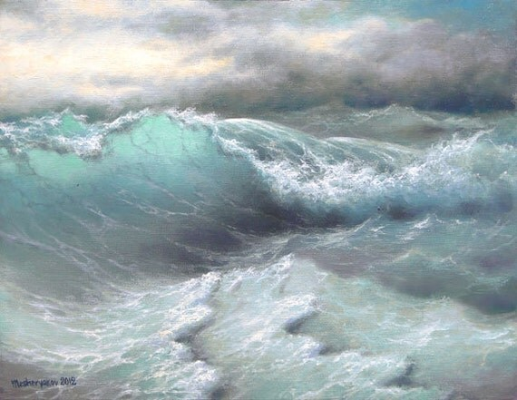 "300 - ""Ocean Wave"",  11""x 14"" Gallery Wrap Canvas giclee print"