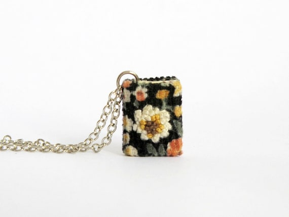 Miniature book necklace, embroidery flower, gifts for her, gifts under 50 [Restocked!]