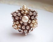 Bridal Cocktail Ring with Pearls & Crystals. Adjustable Vintage Style Diamante Ring. Rhinestone Jewelry