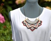 Knitted tribal inspired necklace 'bright coral' - READY TO SHIP