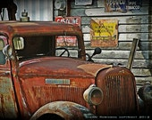 Vintage Dodge Brothers Truck at an old Gas Station, 8X10 Digital Photography