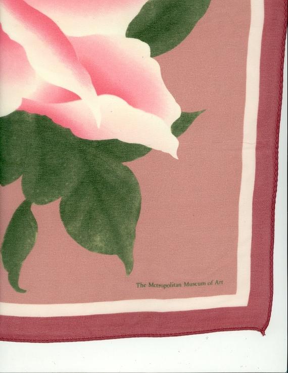 Vintage Pink Rose Silk Scarf Metropolitan Museum of Art